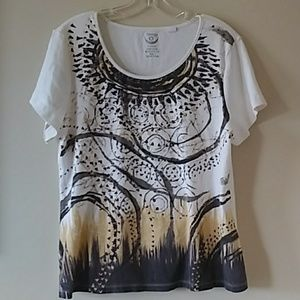 Chicos short sleeve tribal top XL